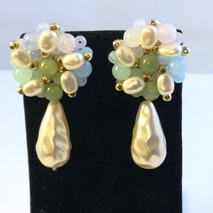 Vintage Pearl and Bead Cluster Dangle Drop Earring